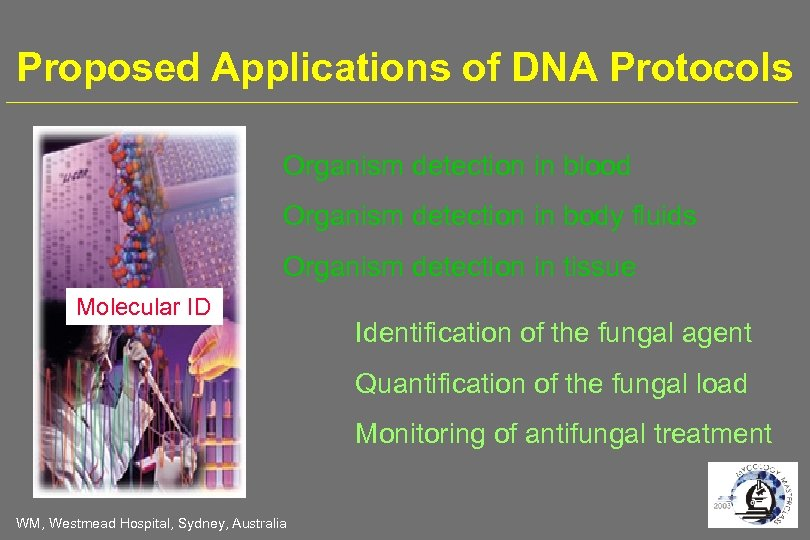 Proposed Applications of DNA Protocols Organism detection in blood Organism detection in body fluids