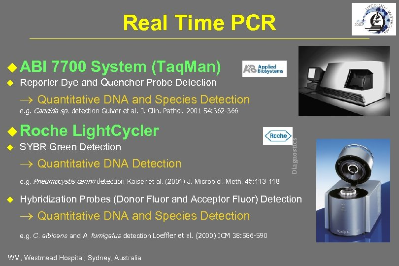 Real Time PCR ABI 7700 System (Taq. Man) Reporter Dye and Quencher Probe Detection