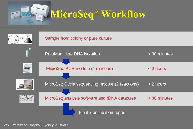 ® Workflow Micro. Seq or Sample from colony or pure culture Prep. Man Ultra