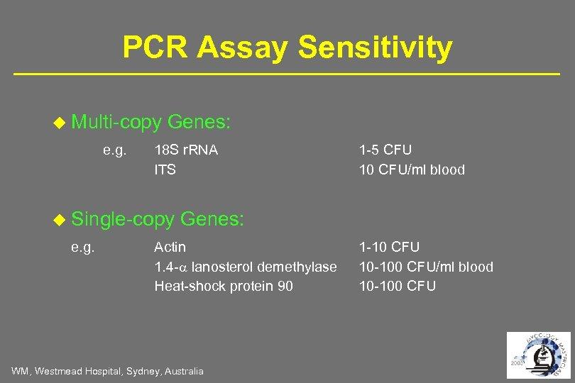 PCR Assay Sensitivity Multi-copy e. g. Genes: 18 S r. RNA ITS Single-copy e.