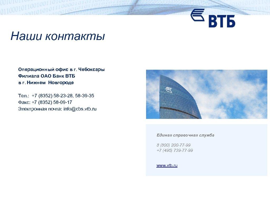 Наши контакты Операционный офис в г. Чебоксары Филиала ОАО Банк ВТБ в г. Нижнем