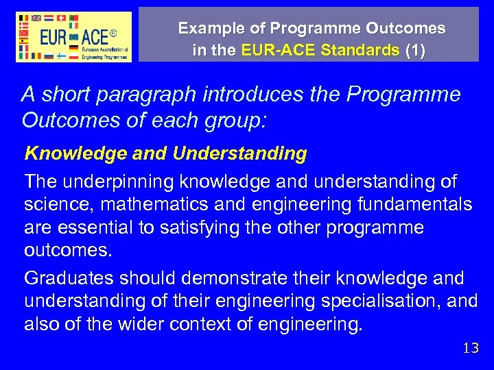 Example of Programme Outcomes in the EUR-ACE Standards (1) A short paragraph introduces the