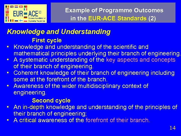 Example of Programme Outcomes in the EUR-ACE Standards (2) Knowledge and Understanding • •