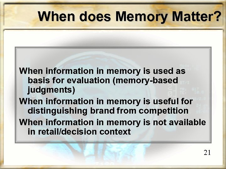 When does Memory Matter? When information in memory is used as basis for evaluation