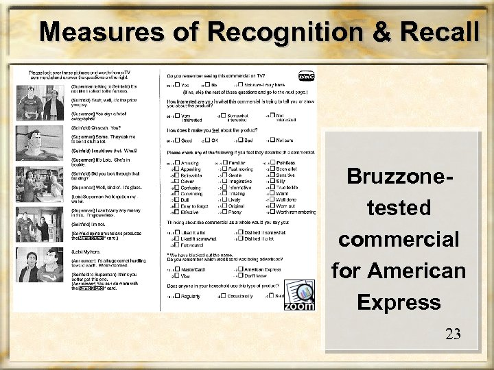 Measures of Recognition & Recall Bruzzonetested commercial for American Express 23
