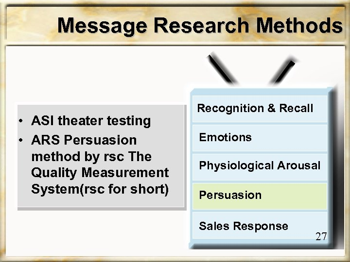Message Research Methods • ASI theater testing • ARS Persuasion method by rsc The