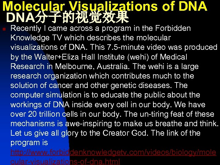 Molecular Visualizations of DNA分子的视觉效果 n Recently I came across a program in the Forbidden