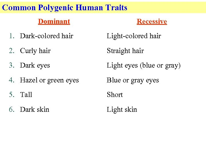 Common Polygenic Human Traits Dominant Recessive 1. Dark-colored hair Light-colored hair 2. Curly hair