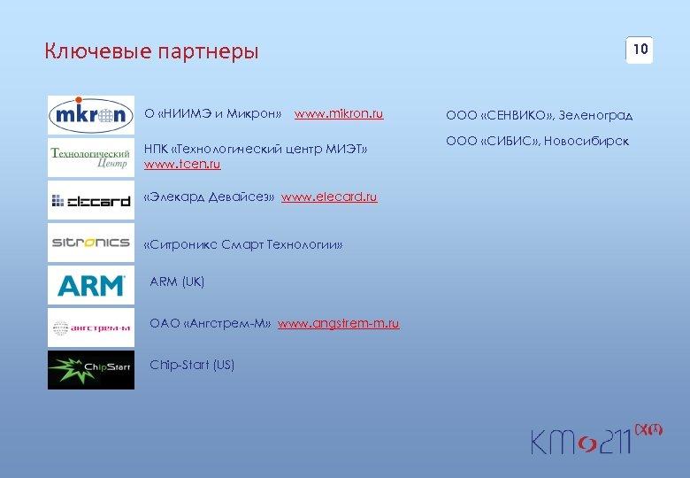Ключевые партнеры О «НИИМЭ и Микрон» 10 www. mikron. ru НПК «Технологический центр МИЭТ»