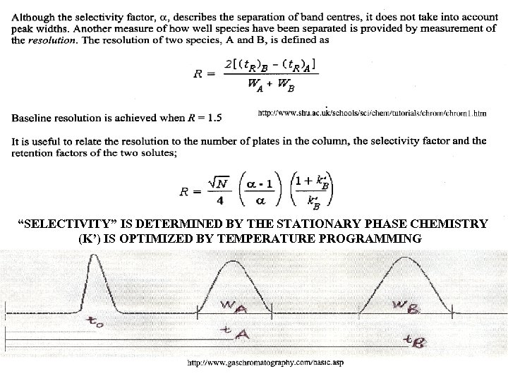 """""""SELECTIVITY"""" IS DETERMINED BY THE STATIONARY PHASE CHEMISTRY (K') IS OPTIMIZED BY TEMPERATURE PROGRAMMING"""