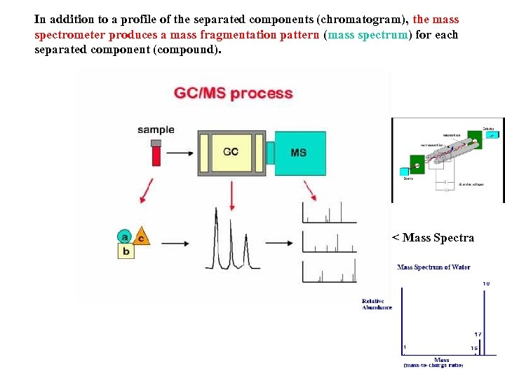 In addition to a profile of the separated components (chromatogram), the mass spectrometer produces
