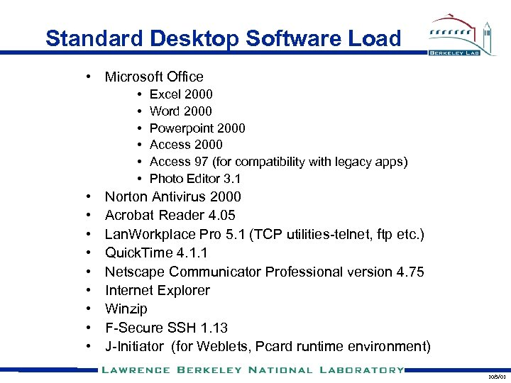 Standard Desktop Software Load • Microsoft Office • • • • Excel 2000 Word