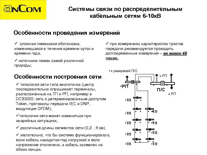 Системы связи по распределительным кабельным сетям 6 -10 к. В Особенности проведения измерений ü