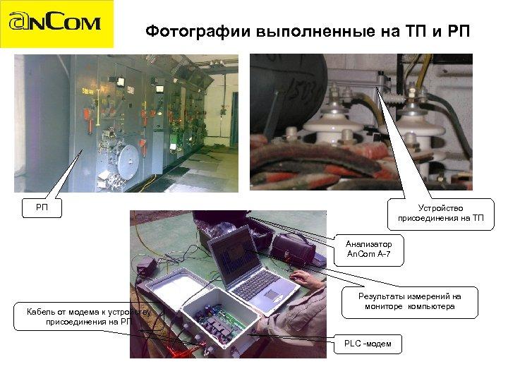 Фотографии выполненные на ТП и РП РП Устройство присоединения на TП Анализатор An. Com