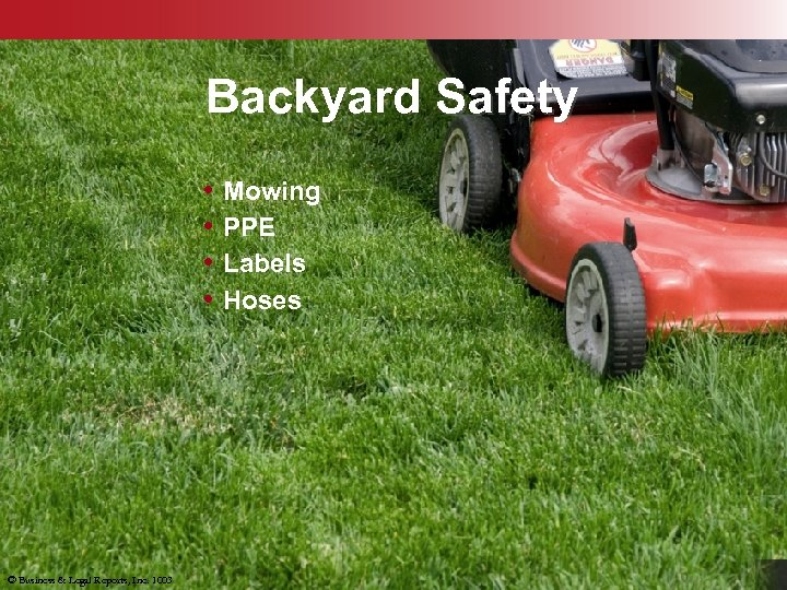 Backyard Safety • Mowing • PPE • Labels • Hoses © Business & Legal