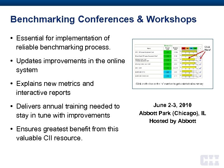 Benchmarking Conferences & Workshops • Essential for implementation of reliable benchmarking process. • Updates