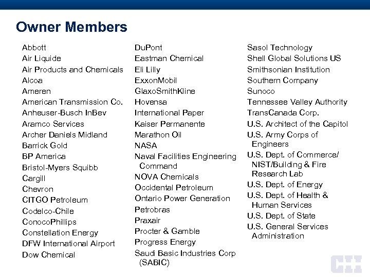 Owner Members Abbott Air Liquide Air Products and Chemicals Alcoa Ameren American Transmission Co.