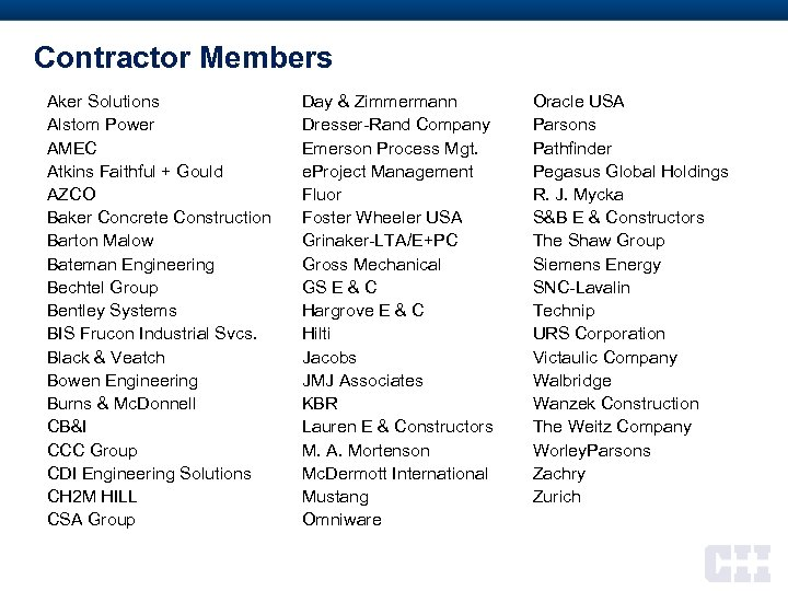 Contractor Members Aker Solutions Alstom Power AMEC Atkins Faithful + Gould AZCO Baker Concrete