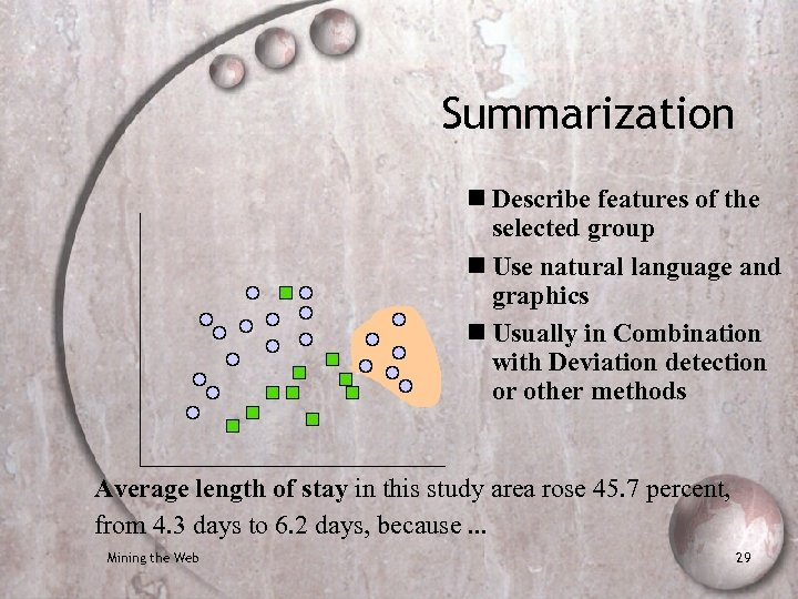 Summarization n Describe features of the selected group n Use natural language and graphics