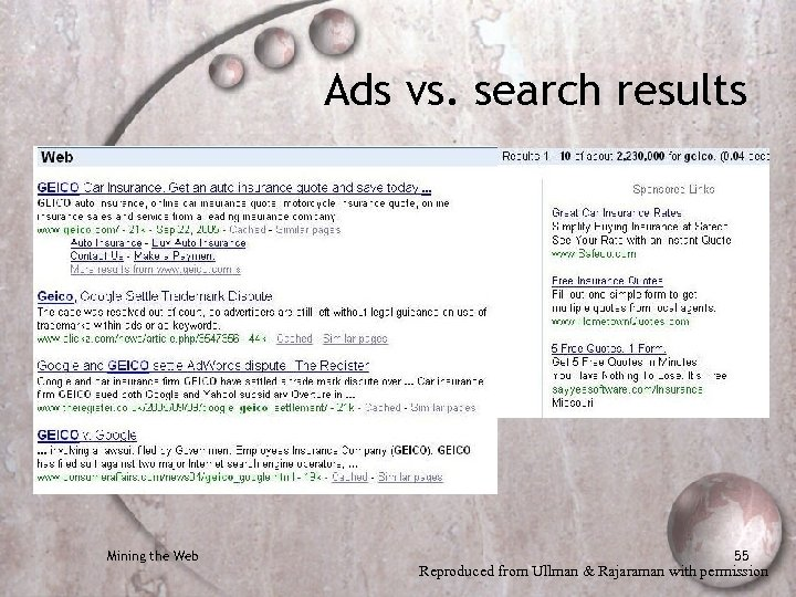 Ads vs. search results Mining the Web 55 Reproduced from Ullman & Rajaraman with