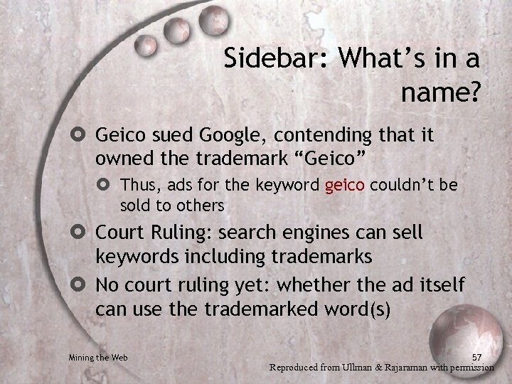Sidebar: What's in a name? Geico sued Google, contending that it owned the trademark