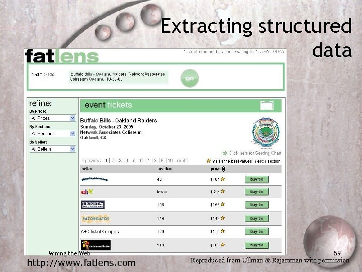 Extracting structured data Mining the Web http: //www. fatlens. com 59 Reproduced from Ullman