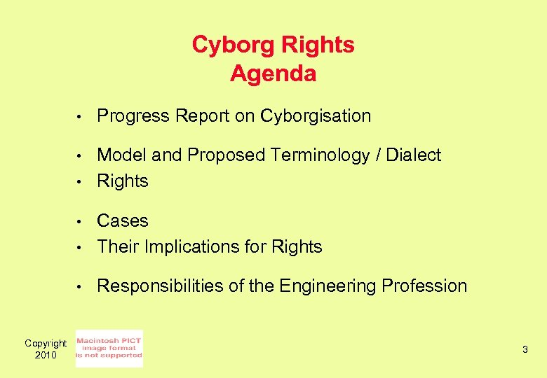 Cyborg Rights Agenda • Progress Report on Cyborgisation • Model and Proposed Terminology /