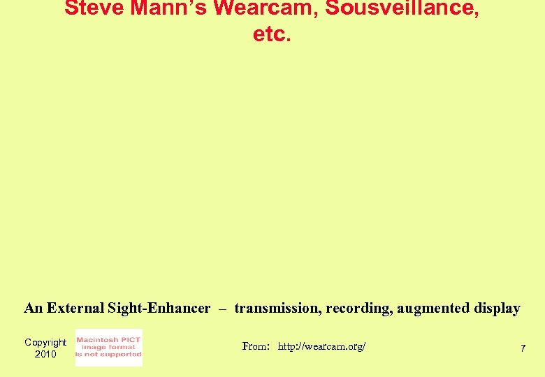 Steve Mann's Wearcam, Sousveillance, etc. An External Sight-Enhancer – transmission, recording, augmented display Copyright