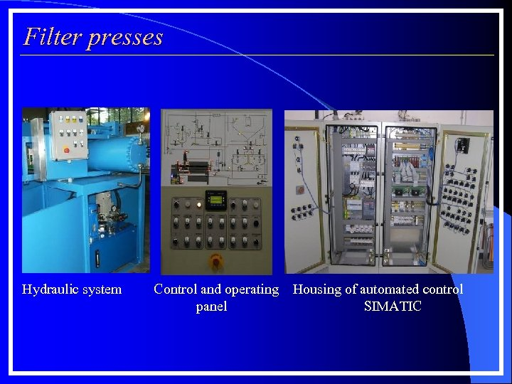 Filter presses Hydraulic system Control and operating Housing of automated control panel SIMATIC
