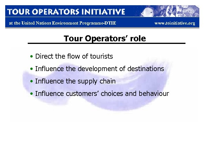 at the United Nations Environment Programme-DTIE www. toinitiative. org Tour Operators' role • Direct