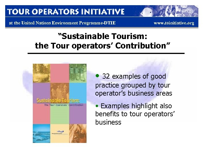 "at the United Nations Environment Programme-DTIE www. toinitiative. org ""Sustainable Tourism: the Tour operators'"