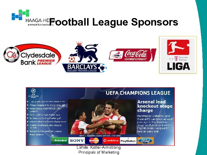 Football League Sponsors Lähde: Kotler-Armstrong Principals of Marketing