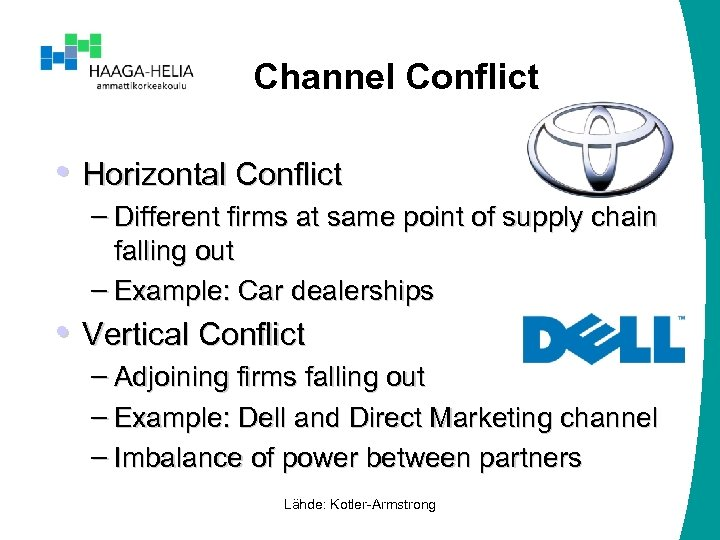 Channel Conflict • Horizontal Conflict – Different firms at same point of supply chain