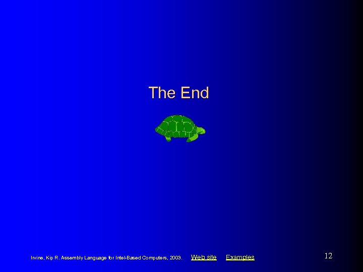 The End Irvine, Kip R. Assembly Language for Intel-Based Computers, 2003. Web site Examples