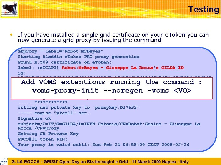 Testing • If you have installed a single grid certificate on your e. Token