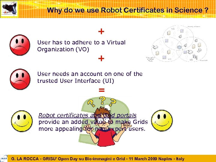 Why do we use Robot Certificates in Science ? + User has to adhere