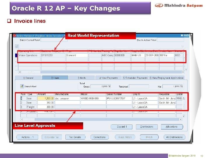 Oracle R 12 AP – Key Changes q Invoice lines © Mahindra Satyam 2010