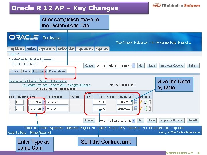 Oracle R 12 AP – Key Changes After completion move to the Distributions Tab