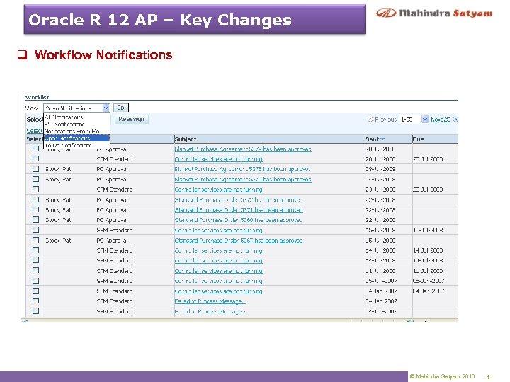 Oracle R 12 AP – Key Changes q Workflow Notifications © Mahindra Satyam 2010