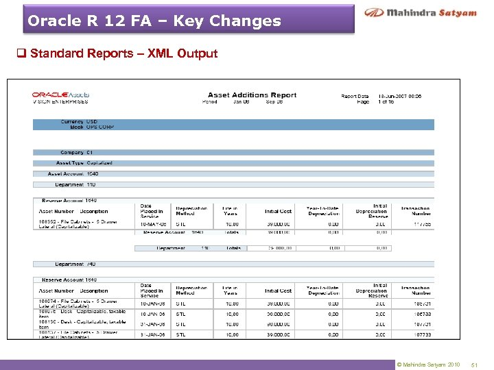 Oracle R 12 FA – Key Changes q Standard Reports – XML Output ©