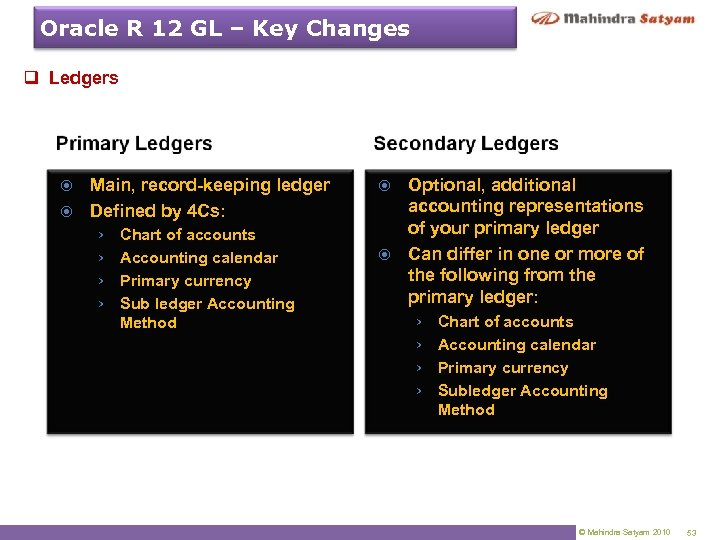 Oracle R 12 GL – Key Changes q Ledgers Main, record-keeping ledger Defined by