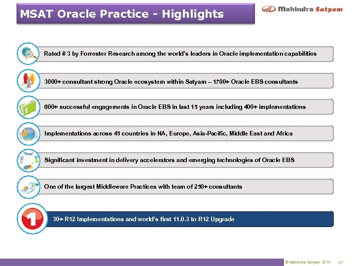 MSAT Oracle Practice - Highlights Rated # 3 by Forrester Research among the world's