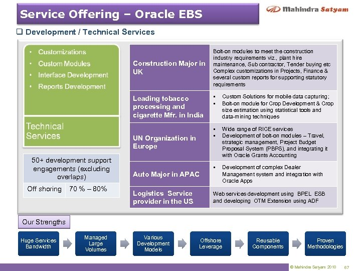 Service Offering – Oracle EBS q Development / Technical Services Construction Major in UK