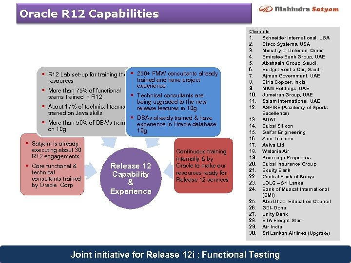 Oracle R 12 Capabilities § R 12 Lab set-up for training the § 250+