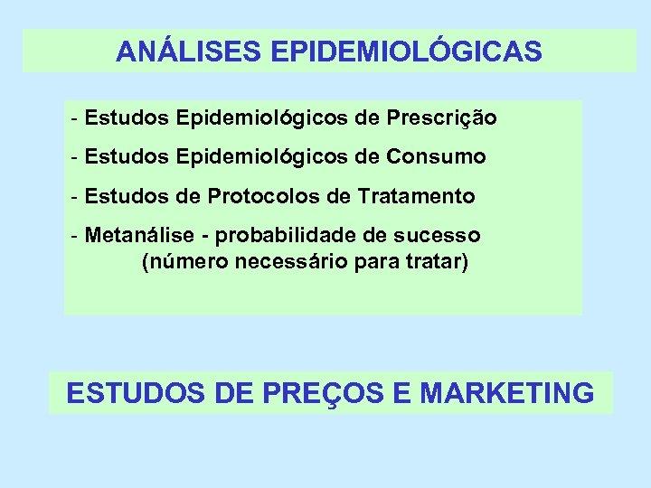 ANÁLISES EPIDEMIOLÓGICAS - Estudos Epidemiológicos de Prescrição - Estudos Epidemiológicos de Consumo - Estudos