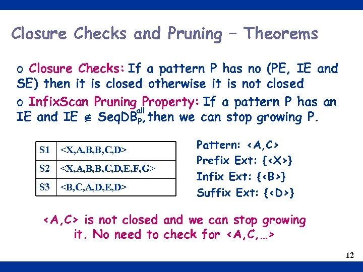 Closure Checks and Pruning – Theorems o Closure Checks: If a pattern P has