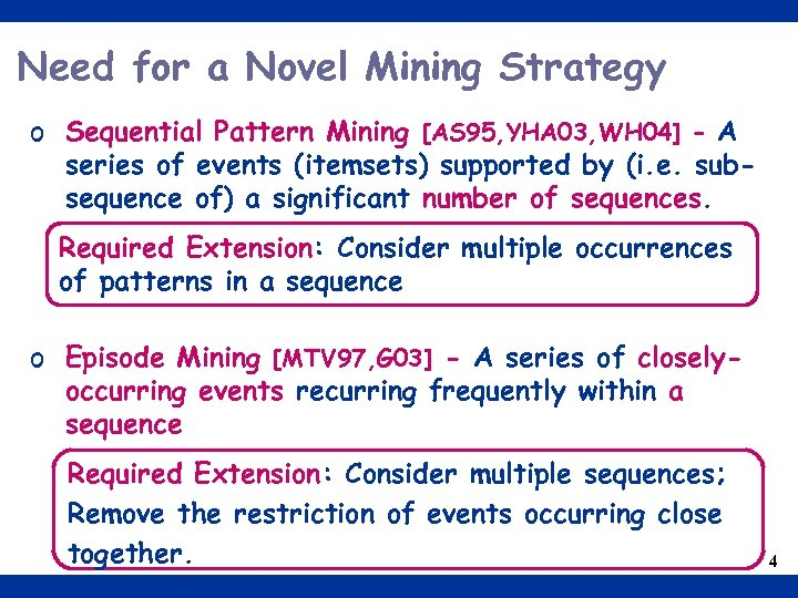 Need for a Novel Mining Strategy o Sequential Pattern Mining [AS 95, YHA 03,
