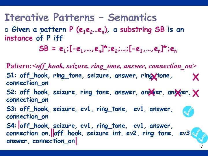 Iterative Patterns – Semantics o Given a pattern P (e 1 e 2…en), a