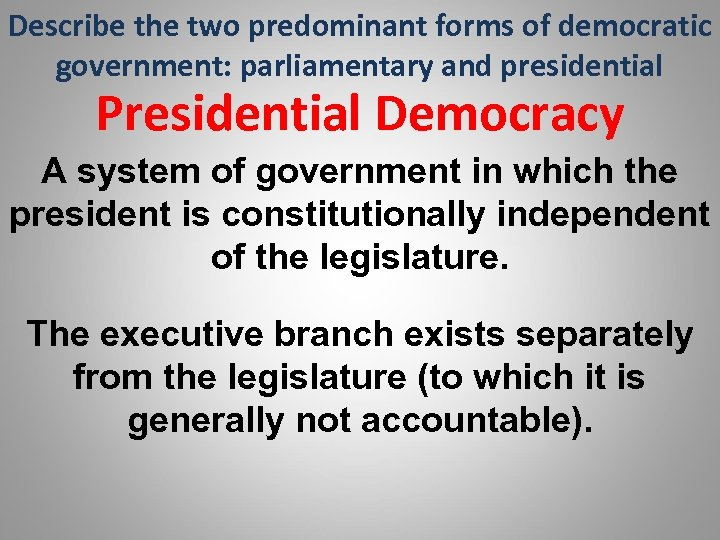 an analysis of democracy as a government that is given power to make and enforce laws The founders and federalism alexander hamilton, james madison, and george washington were advocates of the federal system  the constitution gives three types of power to the national government: 1  some powers of federal and state governments overlap for example, both may — and do — levy taxes, make and enforce laws, and borrow.