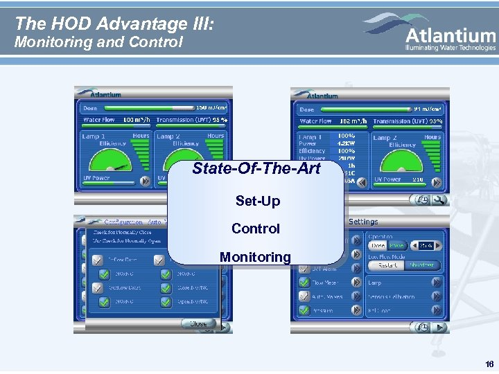 The HOD Advantage III: Monitoring and Control State-Of-The-Art Set-Up Control Monitoring 16